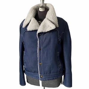 Vintage Jean Jacket Denim Sherpa Coat Silton XL